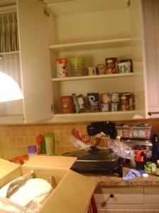 The halfway empty cupboards.